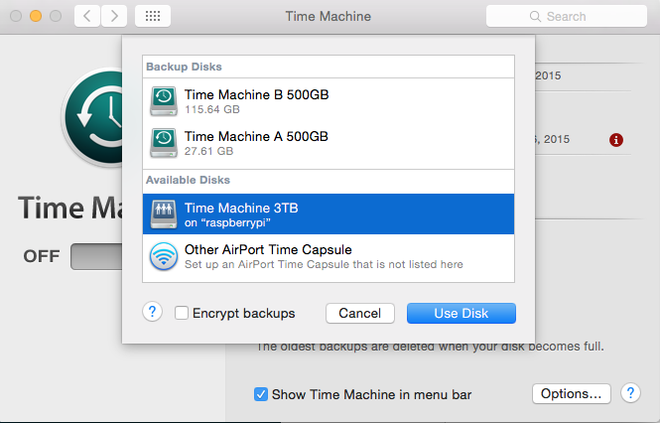 Time Machine Select